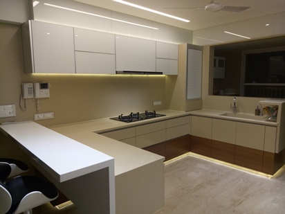 c shape with Dupont corian top